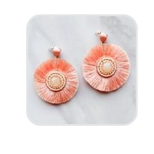 White/cream and light pink earrings with fringe